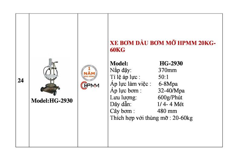 Xe bơm dầu mỡ 20Kg-60Kg HPMM HG-2930