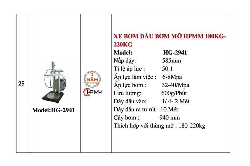 Xe bơm dầu mỡ 20Kg-60Kg HPMM HG-2941